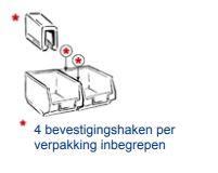 4 bevestigingshaken per verpakking inbegrepen