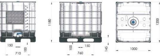 IBC Container - 1000 L op houten pallet 02