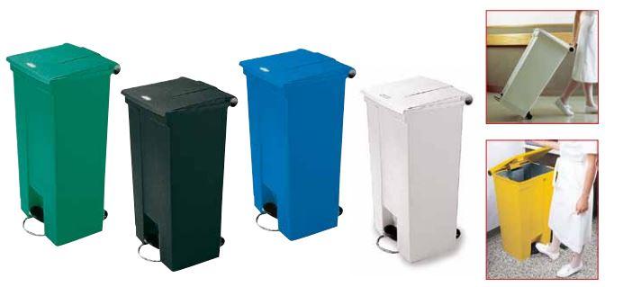 Pedaal afvalcontainters op 2 wielen